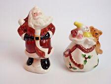 Fitz Floyd Old World Santa Salt Pepper 1990s Holly Berry Rope Toy Sack Vint 00006000 age
