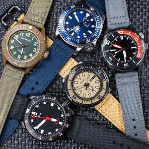 Sailcloth Quick Release Watch Strap Canvas Leather Band Nylon Pilot Military QR