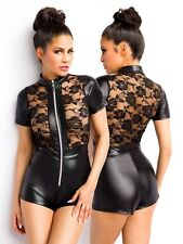 Wetlook Hotpants Overall Bodysuit Lack Spitze Jumpsuit Body Dress transparent