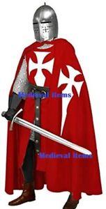 Knight Cloak Cape Tabard Tunic Surcoat Crusader Costume Hooded Renaissance LARP