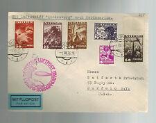 1936 Gallspach Austria Hindenburg Zeppelin LZ 129 cover to USA American Flight