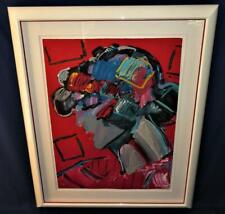 "Peter Max CRIMSON LADY Framed Lithograph LE 215/300 LARGE 35"" x 26"" + Mat, Frame"