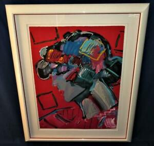 """Peter Max CRIMSON LADY Framed Lithograph LE 215/300 LARGE 35"""" x 26"""" + Mat, Frame"""