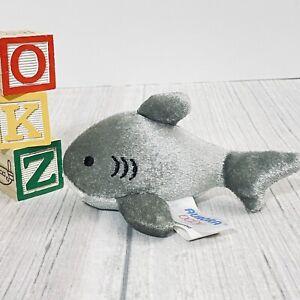 "New AURORA BABY Gray SHARK Mini Plush w SOUND Stuffed Animal 5"""