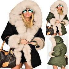 Roiii Women Winter Faux Fur Collar Lining Hooded Thick Warm Parka US Size Stock