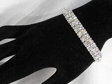 BRIDAL SILVER WITH CLEAR RHINESTONE CRYSTAL STYLE DIAMOND BRACELET