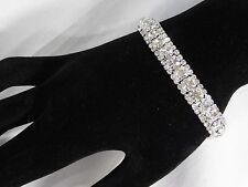 BRIDAL SILVER WITH CLEAR RHINESTONE CRYSTAL STYLE DIAMOND BRACELET