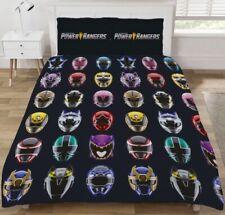 Double Bed Duvet Cover Set Power Rangers 'Helmets' Reversible Black And Blue