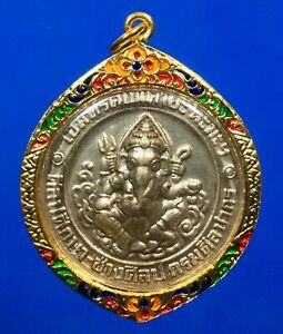 Ganesh God Pendant Elephant Hindu Deity Om Gold Micron Case Talisman Thai Amulet