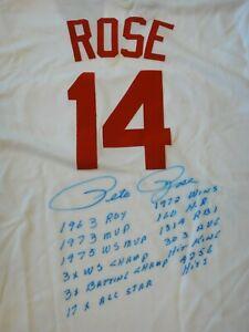 PETE ROSE SIGNED REDS JERSEY WITH 12 HANDWRITTEN STATS BECKETT BAS CERTIFIED.