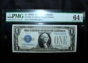 1928-A $1 SILVER CERTIFICATE ✪ PMG UNC-64-EPQ ✪ FR-1601 VA BLOCK CU ◢TRUSTED◣