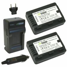 Wasabi Power Battery (2-Pack) and Charger for Panasonic VW-VBY100