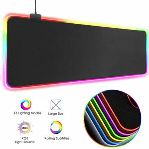 Gaming Mouse Pad Gamer LED RGB Glowing Large XL Mouse Mat non-slip for Laptop PC