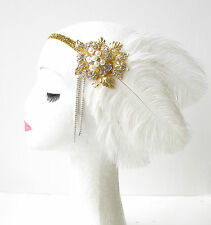 White Gold Silver Feather Headpiece 1920s Flapper Headband Ostrich Vintage 1803