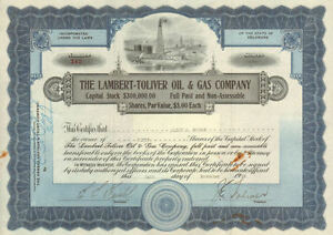 The Lambert-Toliver Oil & Gas Company >1919 Delaware old stock certificate share