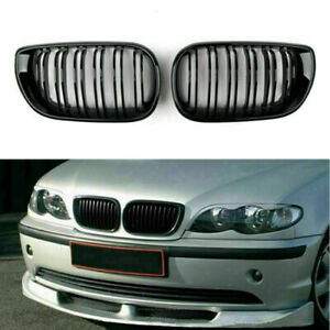 Front Gloss Blk Kidney Grills Grille Cover For BMW E46 3 Series 4Door 02-05 C SL