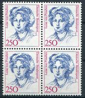 Bund 1428 VB postfrisch Viererblock Frauen 2,50 DM ungefaltet MNH