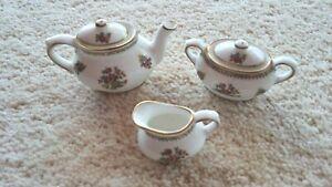 Coalport 'Ming Rose' Miniatures-TeaPot, Creamer & Sugar Bowl-Gold Trim -C1970s