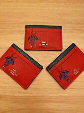 COACH X MARVEL Card Case Wallet with Spider-Man Red & Blue / NWT