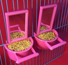 2 X Espejo y alimentador de agua de las semillas de aves Perca Pájaro Juguete Periquito Canario cacatúa Finch