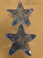 "Cambridge Star Candlesticks #2 Moonlight Blue, Pair(s) 4"" Wide Vintage & PERFECT"