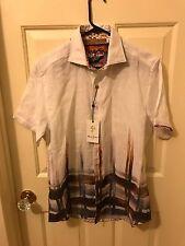 Robert Graham Mens Coves Short Sleeve Woven Shirt Butterscotch Button-up Sz S