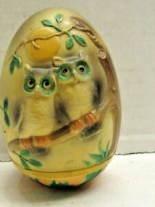 ANTIQUE CELLULOID ROLY POLY TWO OWLS ON A BRANCH IN FRONT OF FULL MOON