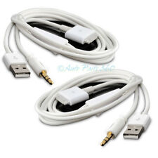 2X 4FT USB 3.5MM AUX AUDIO SYNC CHARGER WHITE CABLE IPHONE 4S 4 3GS 3G IPOD IPAD