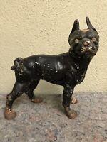 Antique Solid Cast Iron Doorstop - Boxer - Boston Terrier - Barn Find - Hubley