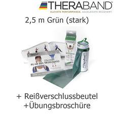 Theraband Original Übungsband Fitnessband 2,5 m Grün mit Reißverschluss Tasche