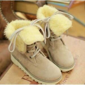 Women Fur Lined Flats Ankle Boots Winter Warm Snow Boots Lace Up Roman Shoes New