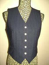 RALPH LAUREN WOMEN VEST TOP DRESSY size 6 BLUE PINSTRIPED GOLD BUTTONS EXQUISITE