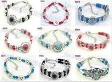 Fashion Chic Wholesale Lots 9pcs Tibetan silver mixed color charm bracelet NEW