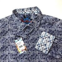 Robert Graham Digital Geometric Check Print Sport Shirt Size L NWT $198