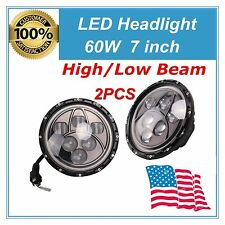 "2X 7"" 60W Cree Round LED Headlight Angel Eye Halo Ring Jeep Wrangler JK/TJ/LJ/CJ"