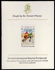 Maldives (475) 1976 Ice Hockey imperf on Format International PROOF  CARD