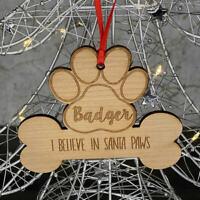 Personalised Christmas Tree Pet Dog Puppy Bone Decoration Xmas Ornament Bauble