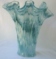 Genuine Italian Art Deco Glass Vase BLUE TONES Tammaro Italy Murano No 913