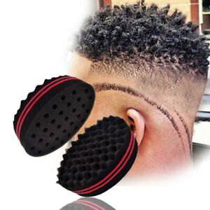 Double Sided Barber Hair Brush Sponge Dreads Locking Twist Afro Coil Curl Wave W