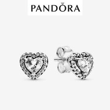 Genuine Silver Pandora Elevated Heart Stud Earrings New With Box 298427C01