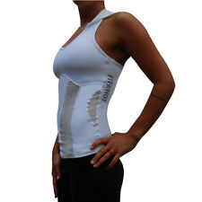 Ladies White Hooded Racer back Singlet Top Medium work out wear gym tank fitness