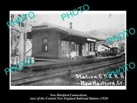 OLD LARGE HISTORIC PHOTO OF NEW HARTFORD CONNECTICUT THE RAILROAD STATION c1920