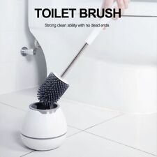 Soft Silicone Bristle Toilet Brush W Holder Bathroom WC Set Cleaning Brush Base