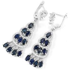Sterling Silver 925 Large Genuine Sapphire & Lab Created Diamond Earrings #3