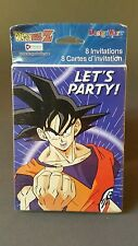 DBZ Dragon Ball Z Goku 8 (eight) Party Invitations & Envelopes Brand New Sealed
