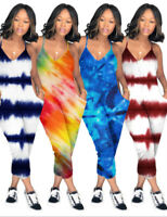Sexy Women Tie-Dye Print Spaghetti Strap Loose Casual Summer Club Party Jumpsuit