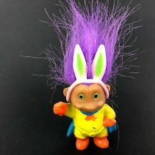 Soma Troll Easter Bunny Ears Purple Hair Superhero w Cape Rare Basket Toy 2.75""