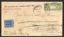 USA SCOTT C9 AIRMAIL STAMP SS SANTA PAULA SHIP NY TO CANAL ZONE COVER 1934