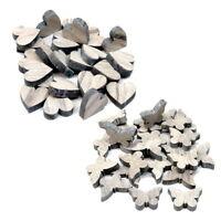 48x Streuartikel Holz, Herz/Schmetterling natur-geweißt, dick 8mm ***