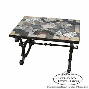 Antique Italian Hand Forged Iron Coffee Table w/ Mosaic Stone Top